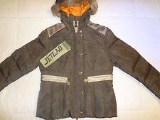 NWT JETLAG VINTAGE WASH WINTER JACKET COAT BROWN Sz XL HOODED RABBIT HAIR SW-39