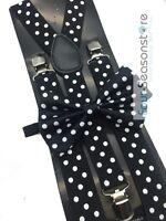 Black w/ White Dot Bow Tie And Suspender Matching Set Tuxedo Wedding Party
