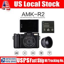 AMKOV AMK-R2 Digital Camera 24MP 1080P HD DSLR DVR Wide-angle Lens +Free Battery