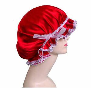 One Real Silk Slumber Cap Sleeping Hat W/ Lace