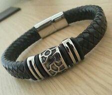 Men's Black Real Leather Bracelet ~ 21cm ~ Turtle Shell Design ~ Stainless Steel
