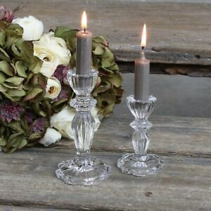 French Vintage Style Heavy Glass Candlestick Holder for Dinner Candles