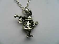 Unusual Alice in Wonderland Two Sided Silver Rabbit   Necklace
