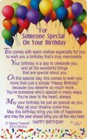 KEEPSAKE WALLET CARD SOMEONE SPECIAL ON YOUR BIRTHDAY Sentimental Verse Special
