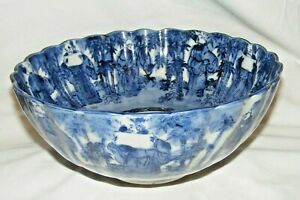 ANTIQUE 19THC JAPANESE MEIJI BLUE WHITE LARGE SCALLOPED BOWL IMMORTALS FLUTED