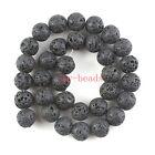 "12mm Natural Black Lava Rock Round Shape DIY Gemstone Loose Beads Strand 15"""