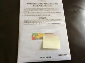 MICROSOFT WINDOWS SERVER 2012 R2 FOUNDATION ROK HP ENTERPRISE - NEW INC KEY NO