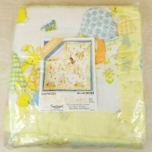 "Vintage Beacon Crib Blanket ""Hoppity"" Bunny Bunnies Animals 40"" x 45"" SEALED"