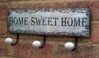 Home Sweet Home Hooks 3 Hook Coat Wall Rack Metal Shabby Chic Retro Vintage New