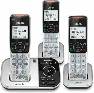 VTech DECT 6.0 Cordless Phone Answering System Bluetooth Call Block 3 Handsets