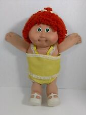 Vintage Cabbage Patch Doll Red Orange Hair Single Braid Yellow Outfit White Shoe
