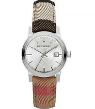Burberry Womens Silver Tone The City Housecheck Leather Band Watch BU9151