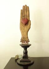 "37"" KENT GUTZMER Folk Art Wood Carving-HEART IN HAND-1997-South Dakota-OOAK"
