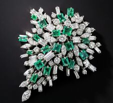 Spectacular Explosion Of Green Emerald & White CZ 11.25CT Fireworks Blast Brooch