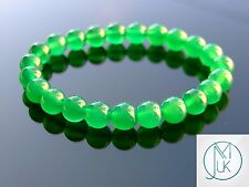 """AGATA verde tinto naturale Gemstone Bracciale 7-8"""" Elasticizzati Pietra di Guarigione Reiki"""
