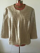 CHICO'S Black Label-Cut out leather ivory Jacket-lined-Size 3