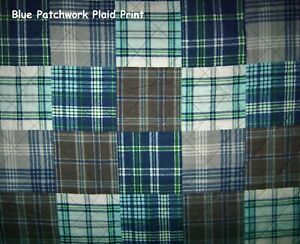 Blue Patchwork Plaid-Handmade-Flannel Quilts-Made in USA by MJ Quilts
