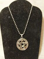"""Pentagram Necklace Jewelry Pagan Gothic Wicca Wiccan Occult """"Protection Blessed"""""""