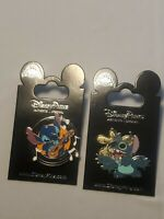 Disney Parks 2 Pin Lot Stitch with Guitar + 4 arm Stitch NEW