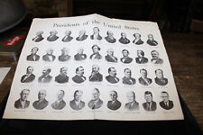 Presidents of the United States of America Print Circa 1963