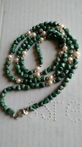 """CAROLYN POLLACK RELIOS STERLING silver terqious Pearl BEAD NECKLACE 35"""""""