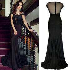 Formal Wedding Party Dress Maxi Long Train Gown Floral Sleeve Black Insert Mesh
