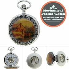 Mechanical Pocket Watch Skeleton See-through Dial Back Deer Enamel Chain Box 14C