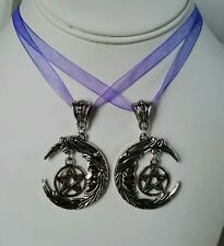 silver pentagram moon pagan wiccan gothic purple necklace
