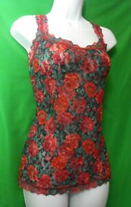 NEW HANKY PANKY 9Z4256 ROSES ARE RED FLORAL MADE IN USA LACE CAMISOLE L