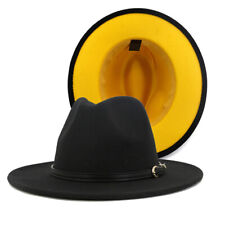 Unisex Classic Colorblock Woolen Fedora Hat Panama Church Derby Hat with Band