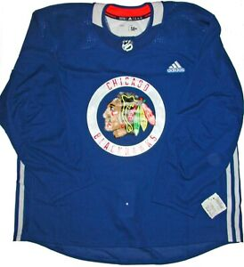 ADIDAS AUTHENTIC PRACTICE JERSEY CHICAGO BLACKHAWKS BLUE 58+ MADE IN CANADA MIC
