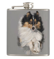 6 oz Flask - Sheltie /Shetland Sheepdog on the Run