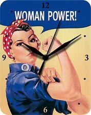 Women Power Frauen Power - we can do it - Blechuhr Wanduhr Uhr Clock 18