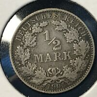 1905-E  GERMANY SILVER 1/2 MARK BETTER COIN