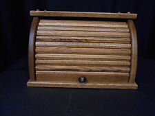 Roll Top Bread Box  Bin Solid Oak Wooden Amish Large Storage Handcrafted Provinc