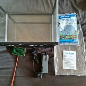 Small Fish tank 10L Aquarium with filter, net and gravel joblot bundle new
