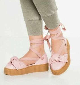 Puma Fenty By Rihanna Womens Creeper Bow Butterfly Sandals Shoes Size 7.5 Pink