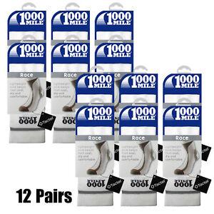 Bulk Pack 12 Pair Mens White X-Large 1000 Mile Running Workout Sport Race Socks