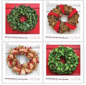 2019 Holiday Wreaths 100 USPS Forever Postage US Sheet of 20