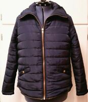 Navy Black Leather Trim Short Sports Quilted Puffer Jacket Coat Womens Sz XL $99