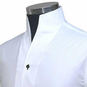 Open High Buttonless Collar Band Tall Neck Men's White Dress Shirt Black Buttons