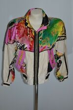 Vintage 80's EAST WEST Wind Breaker Jacket Colorful Pink Neon Yellow Green White