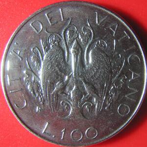 1989 VATICAN CITY 100 LIRE PELICAN FEEDING YOUNG JOHN PAUL II STAINLESS COIN