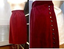 Sexy Stretch Skirt Pencil Wiggle Stud Nailhead Trim Ultrasuede Rust Party Chic