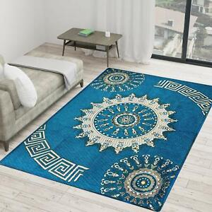 Blue Royal Printed Traditional Carpet Of Chenille - 5 ft x 7 ft For Home Decor