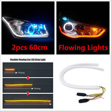 2X60cm Car Flexible Flowing LED Strip DRL Light Sequential Headlight White-Amber