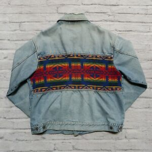 Vintage Pendleton Native Wool Denim Jean Jacket Size XL Western Wear
