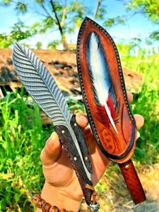 """Drop Point Knife Hunting Survival Feather Damascus Steel Wood Handle Handmade 4"""""""