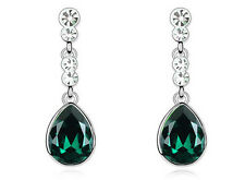 Emerald Green & Silver Tear Drop Wedding Party Evening Dangle Earrings E603