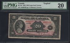 "CANADA BC-9a $20.00 1935 LARGE SEAL ""ENGLISH"" OSBORNE / TOWERS PMG 20 VF WL6276"